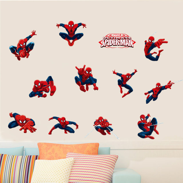 DIY 11 Pose Spiderman Wall Stickers For Kids Room Pvc Wall Decal SDM009.  Children Boys Baby Nursery Superman Super Hero 2.0