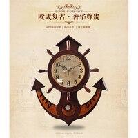 20 inches Saat Large Wall Clock Reloj Relogio de Parede relogio de parede decorativo Mediterranean rudder wooden Quartz clocks