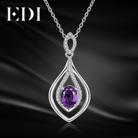 EDI Oval 2ct Natural Purple Amethyst Pendant Solid 925 Sterling Silver Chain Necklace Birthstone Fine Jewelry