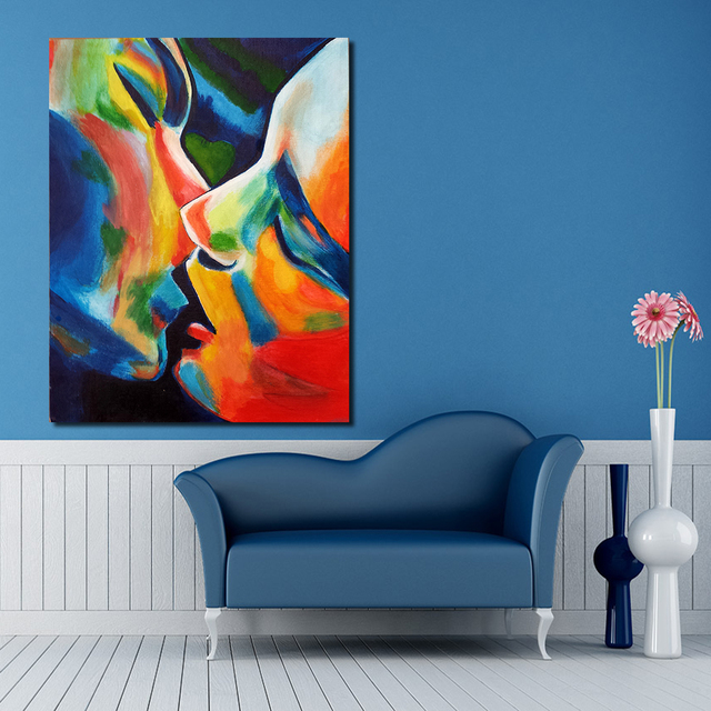 JQHYART Erste Kuss Moderne Wand Bilder Für Wohnzimmer Malerei Wand Malerei  Bild Leinwand Kunst Kein Rahmen
