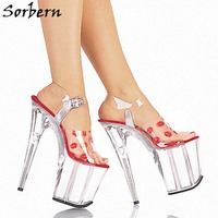 Sorbern дизайнер Брендовые босоножки индивидуальный заказ ясно Пластик каблуке с открытым носком женские туфли на высоком каблуке Модные босо