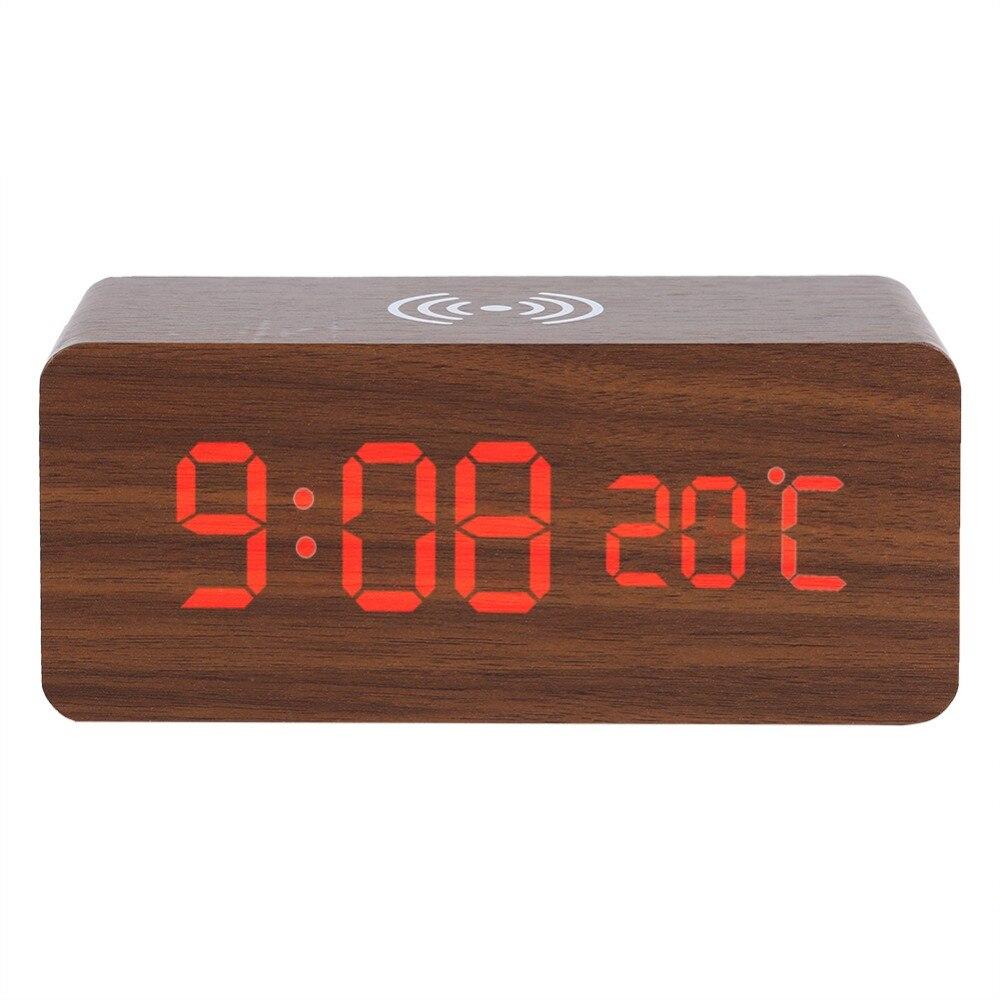 Chargeur sans fil pour téléphone LED horloge de table horloge de bureau numérique LED en bois réveil de bureau numérique commande vocale température