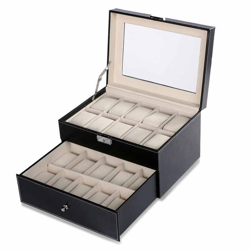 FANALA 24 Grid/20 Grid/10 Grid Watch Box PU Leather Watch Winder High Capacity Display Box Boite Montre With Glass Top Window