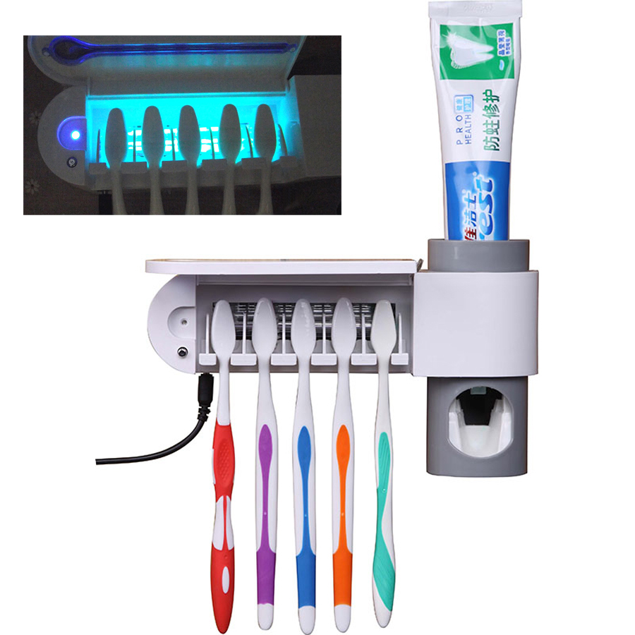 Antibacteria 2 in 1 UV Light Ultraviolet Toothbrush Automatic Toothpaste Dispenser Sterilizer Toothbrush Holder Cleaner