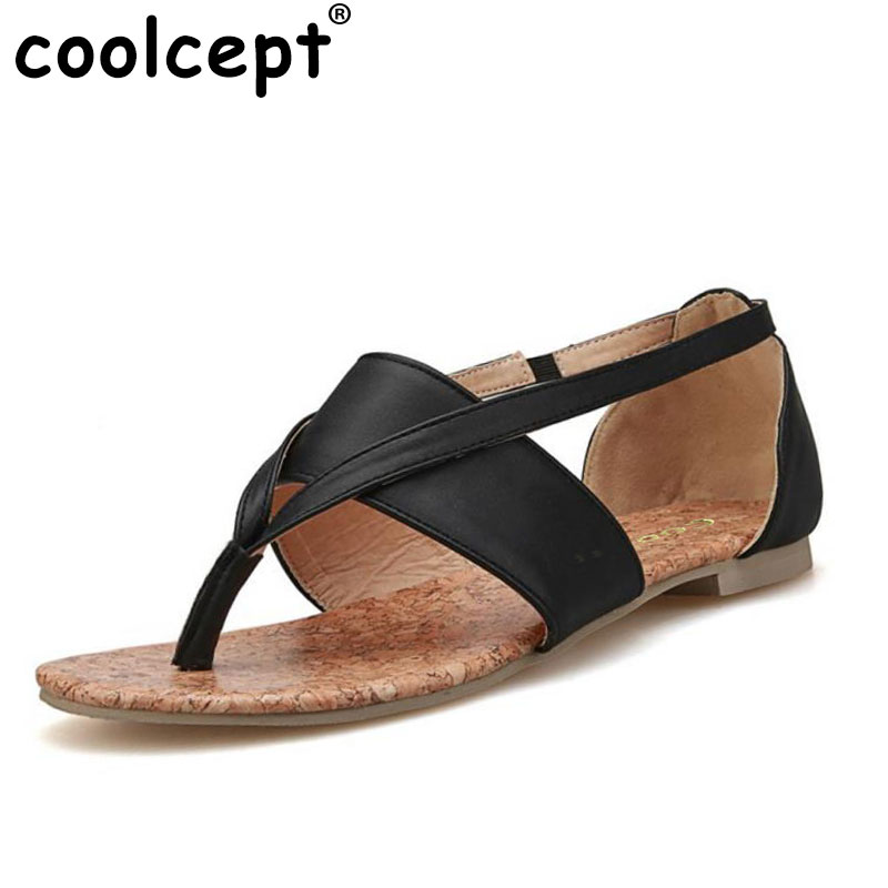 Coolcept Size 33-43 Gladitor Flats Sandals Brand Flip-flops Flat Sole Sandals Summer Women Flats Ankle Strap Sandals Hot PA00279