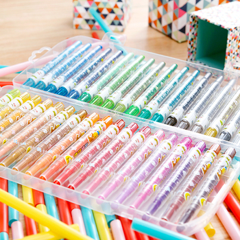 12 18 24 36 Colors Creative Rotating Crayons Bright Colors Not Dirty Hands Children Painting Tools