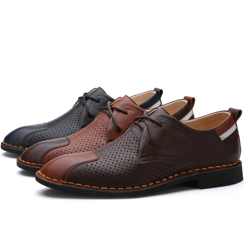 DR.SUTOR Genuine Leather shoes men casual shoes cow leather breathable Lace-Up Dress Shoes 2017 simple common projects breathable lace up handmade leather shoes casual leather shoes party shoes men winter shoes