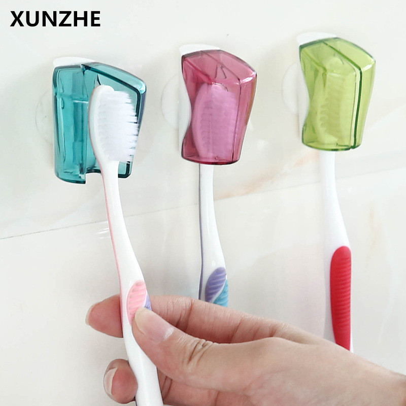XUNZHE 3PC Simple Creative Bathroom Sucked Type Toothbrush Holder Plastic Transparency Toothbrush Dust Box Toothvrush Covers