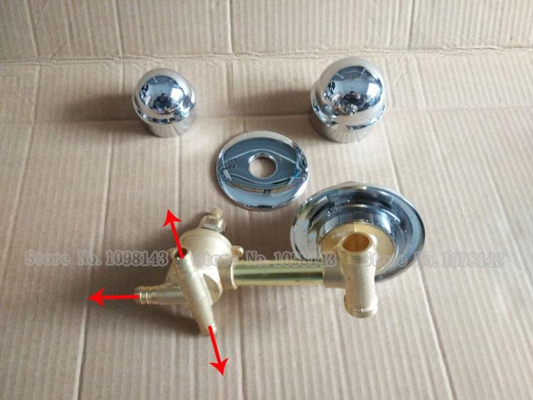 Ensemble de vannes de mélange de robinets de douche d'intubation à 3 voies, 3/4/5 voies robinets de mélangeur de robinet de salle de bains double poignée, robinets de baignoire fixés au mur
