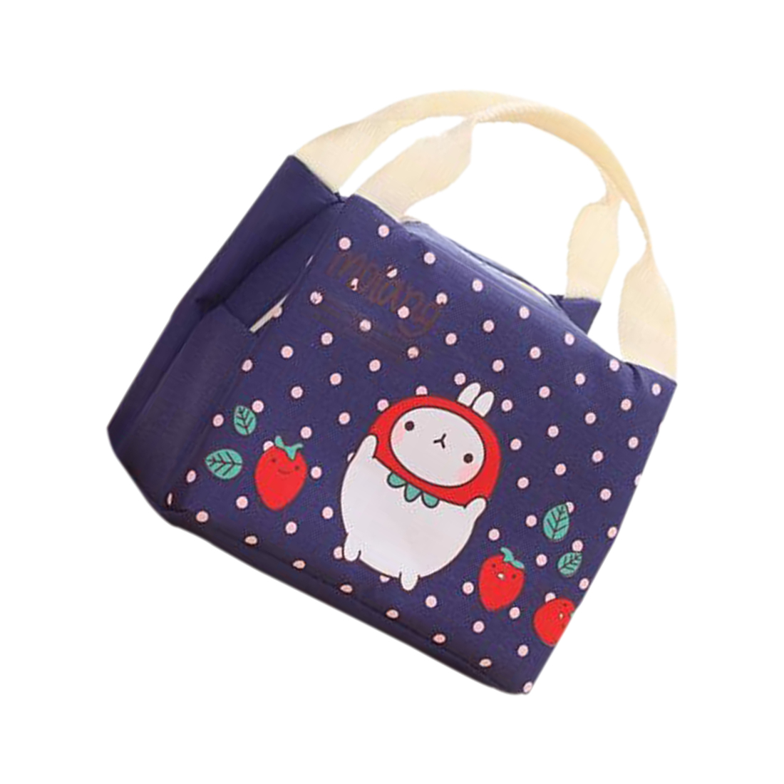 SNNY NEW Cute Rabbit Canvas Lunch Thermal Bag Portable Insulated Food Picnic Bags Cooler Lunch Box Bag Tote(dark blue)