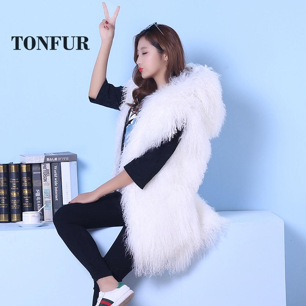 2019 Sleeveless Genuine Mongolia Sheep Fur Vest Thick Warm Curl Tan Sheep Fur Gilet Fashion Waistcoat WSR189