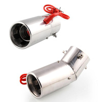 1PC Universal 70mm Car Straight Spitfire Flaming LED Red Light Exhaust Pipe Muffler Tip