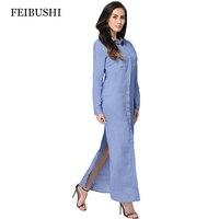 FEIBUSHI Denim Shirt Female Long Sleeve Shirt Womens 2017 Denim Blouse Classic Shirt Jeans Slim Tops