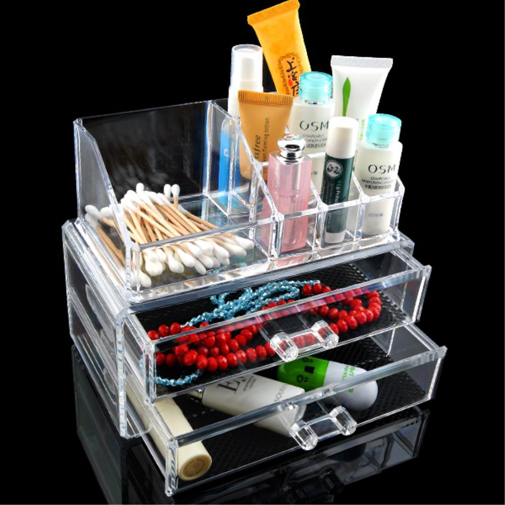 NEW Arrivals Clear Acrylic Makeup Cosmetic Organizer Storage Case Make Up Case Lipstick Brush Holder With 2 Drawers