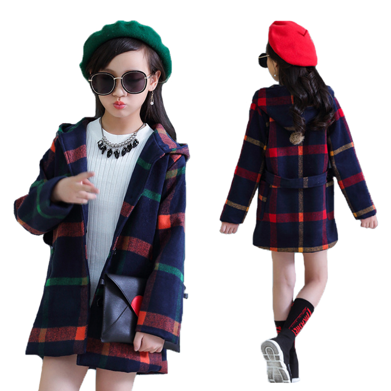V-TREE Girls Coat Spring Autumn Plaid Hooded Jacket For Teenage Girl Winter Coats Children Windbreaker Kids Outerwear