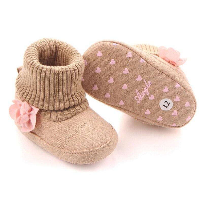 Cute Autumn Winter Children Babyborn Warm Flower Boots