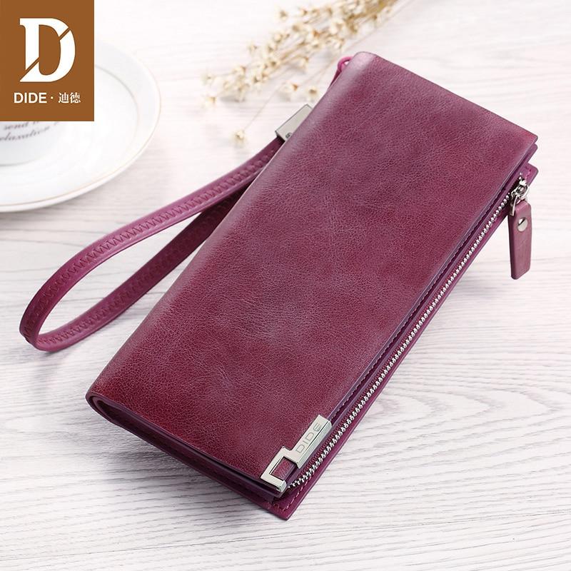 купить DIDE Genuine Leather Women Wallets Luxury Brand Design High Quality Fashion Girls Coin Purse Card Holder Long Clutch Hand Bag по цене 1644.69 рублей