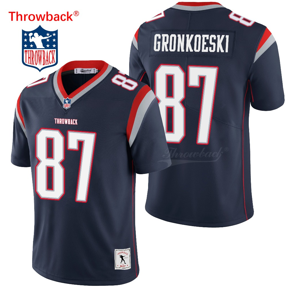 Throwback Jersey Custom New England American Football Jersey Gronkowski Jerseys Black Size S-XXXL Free Shipping Wholesale image