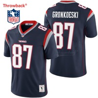 Throwback Jersey Men's New England American Football Jersey Gronkowski Jerseys Black Size S XXXL Free Shipping Wholesale