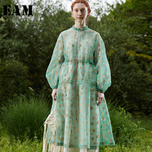 [EAM] 2019 新秋冬スタンドカラー長袖メッシュドットプリントルーズロングスリーブ気質ドレスの女性のファッション潮 JU098