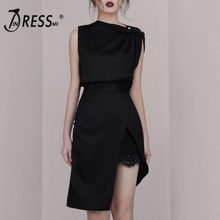 INDRESSME  2019 New Sexy Asymmetrical Neckline Ruched Slit Sleeveless Wrapped Mini Dress