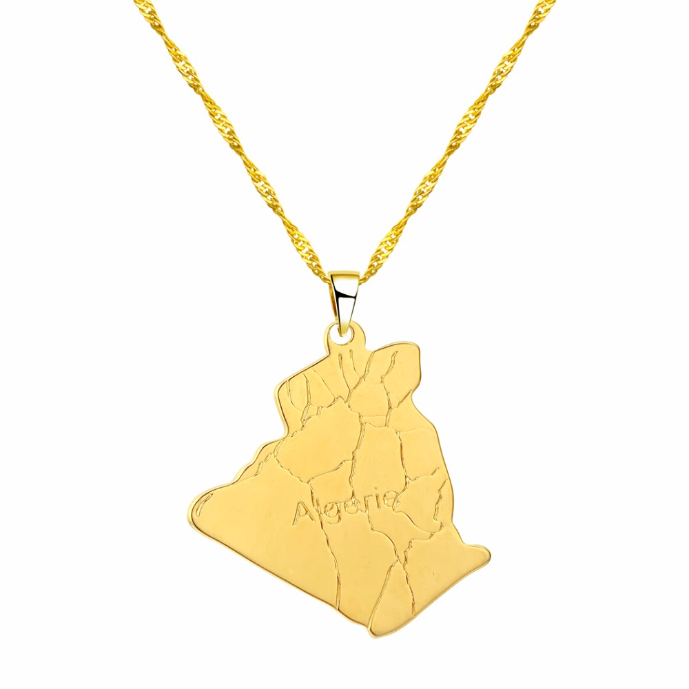 CHENGXUN Country Algeria Map Gold Color Necklace Pendant Trendy Jewelry Map of Algeria Necklaces for Women Girls Choker Chain