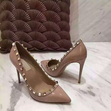 Autumn Rivets Pointed Toe Shallow Mouth Foot Wrapping Genuine Leather Low-Heeled Nude Color Heels Thin High-Heeled Shoes Single