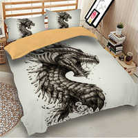 3D Iron Dragon Pterosaur Printed Bedding Set Polyester Duvet Cover Cartoon Bed Set Single Queen King Size For Kid Boys