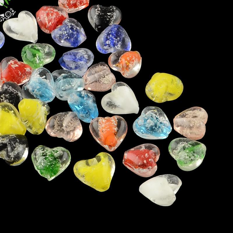 100pcs Handmade Luminous Lampwork Beads, Heart, Mixed Color, 15~16x15~16x9~10mm, Hole: 1~2mm