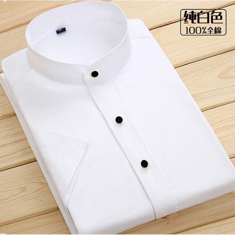 Summer cotton casual stand collar fashion tide short sleeved men's shirt Slim professional wear men's shirt