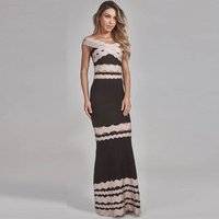 Slash Neck Bandage Dress Long Floor Length Hollow Out Sexy Elegant Celebrity Party Dresses