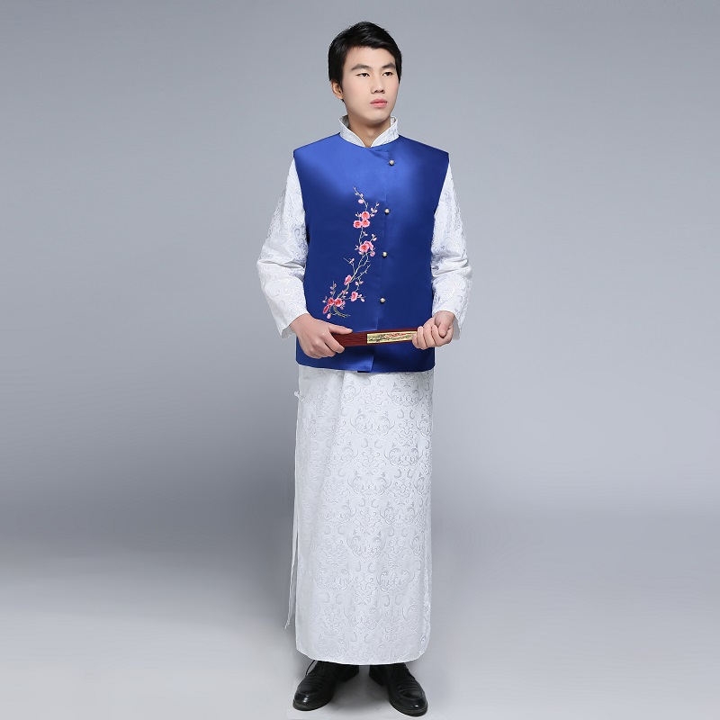 Tang suit male cheongsam Chinese style costume men's dress embroidered robe long gown traditional Chinese Qipao for men