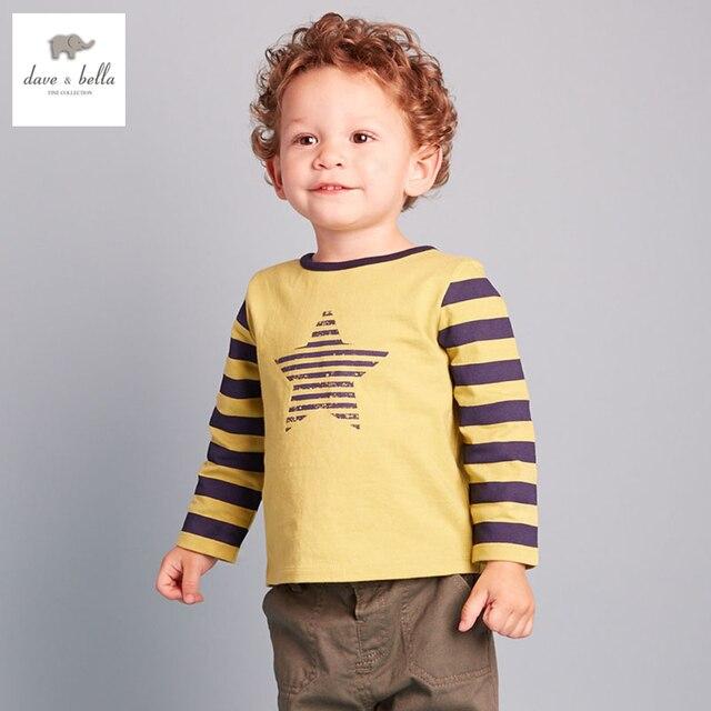 DB2299 дэйв белла осень 100% хлопок футболки мальчиков бутик наряды детская одежда детские Футболки мальчиков хлопок футболки