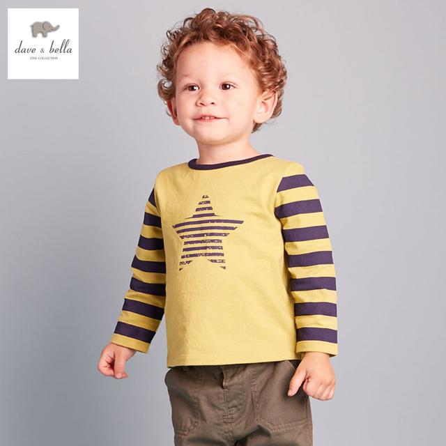 DB2299 dave bella outono 100% t-shirt de algodão meninos boutique outfits roupa do bebê T-shirt do bebê dos meninos camisa de algodão t