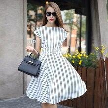 High Quality Summer Dress 2015 print Dresses brand Women Dress Vertical Stripe style Casual Dresses plus