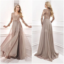 Verngo Elegant Evening Dresses Long Sleeves Lace-appliques with Beads A-line Hot sale Plus size Custom made