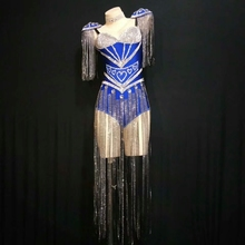Festival Clothing Outfits Stage-Dance-Costume Singer Rave Bodysuit Tassel Sparkly Rhinestone