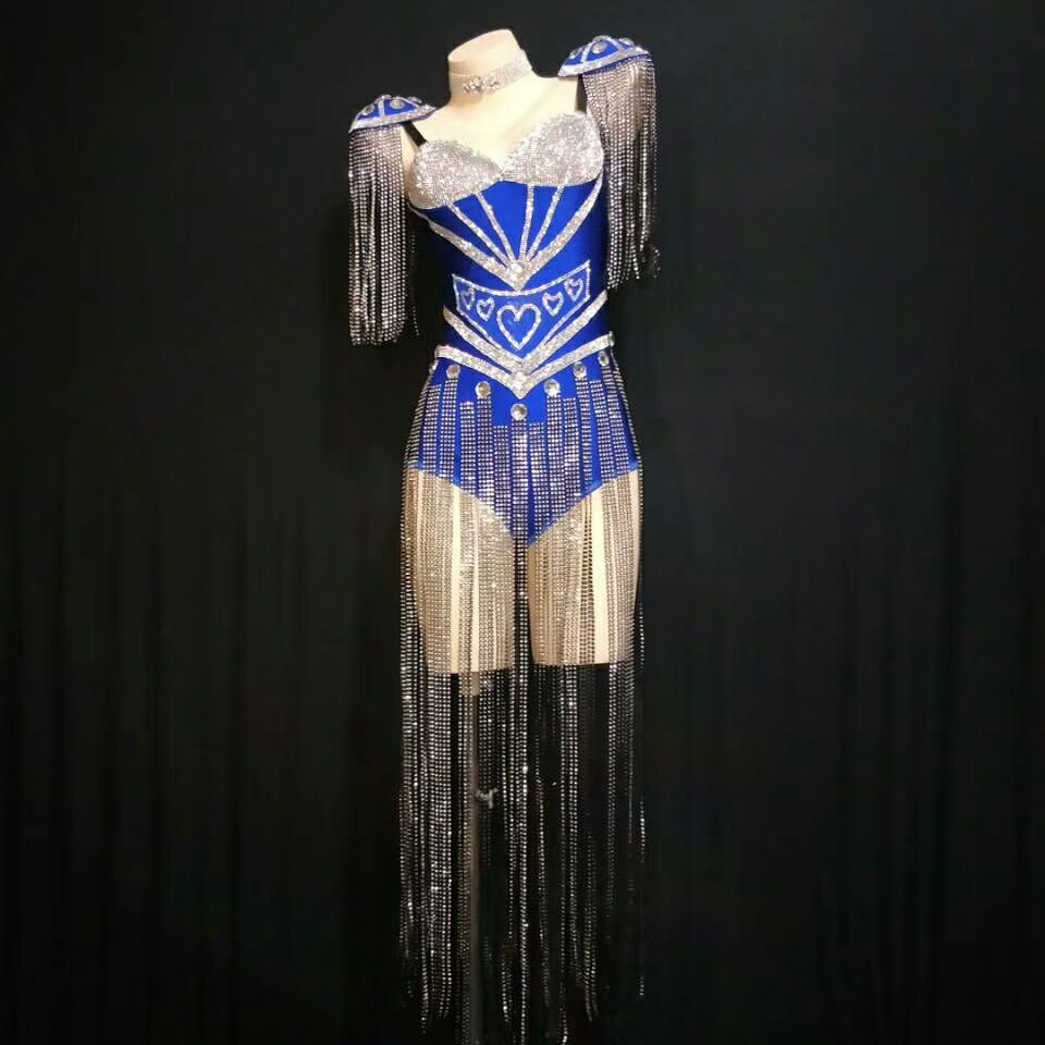 Sparkly Silver Tassel Rhinestone Epaulet Bodysuit Sexy Nightclub <font><b>Outfits</b></font> <font><b>Women</b></font> Singer Stage Dance Costume Rave <font><b>Festival</b></font> Clothing image