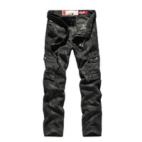 Camouflage Cargo Pants Men Spring Trousers Men Casual 97% Cotton Mid waist Straight Men Pants With Many Pockets Trousers No Belt