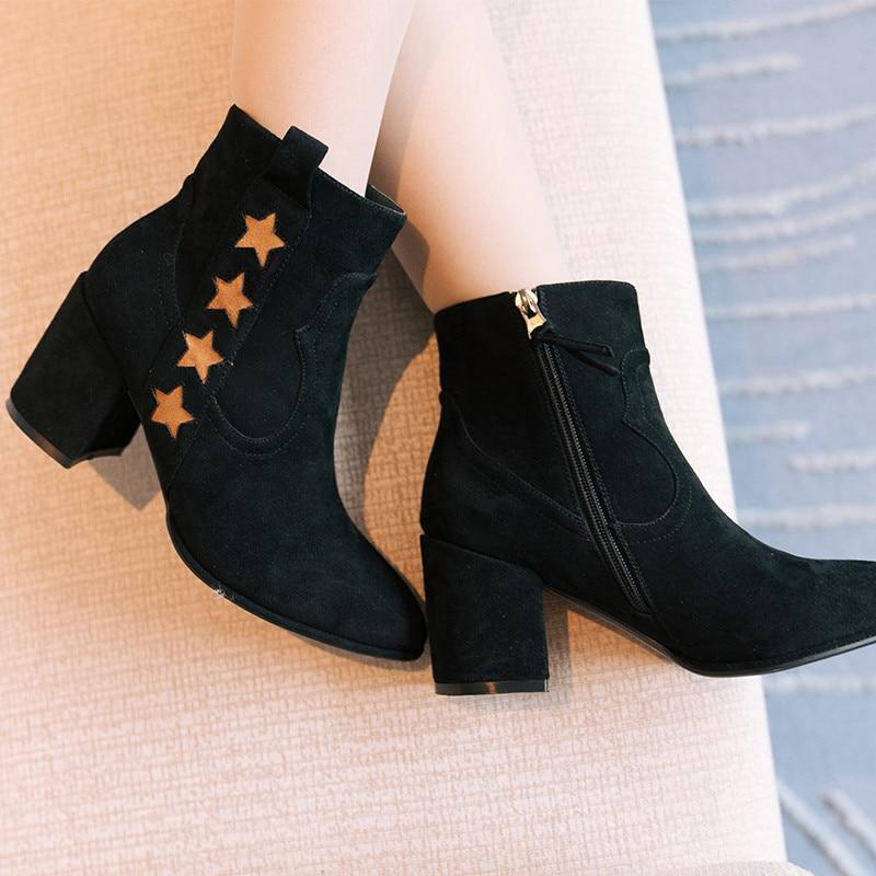 Estrella Llegada Británico Botines Black Cinco Redonda Grueso Martin Punta Mujeres Tacón Nueva Zapatos Puntas De Estilo Botas I7C1nqw