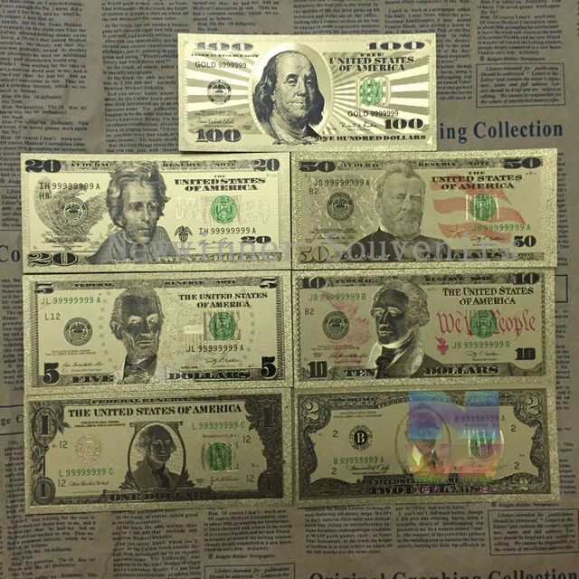 7 Pcs Lset 24k Gold Banknotes Usa Foil Bill 1 2 5 10 20 50 100 Dollars World Paper Money Collection Gift