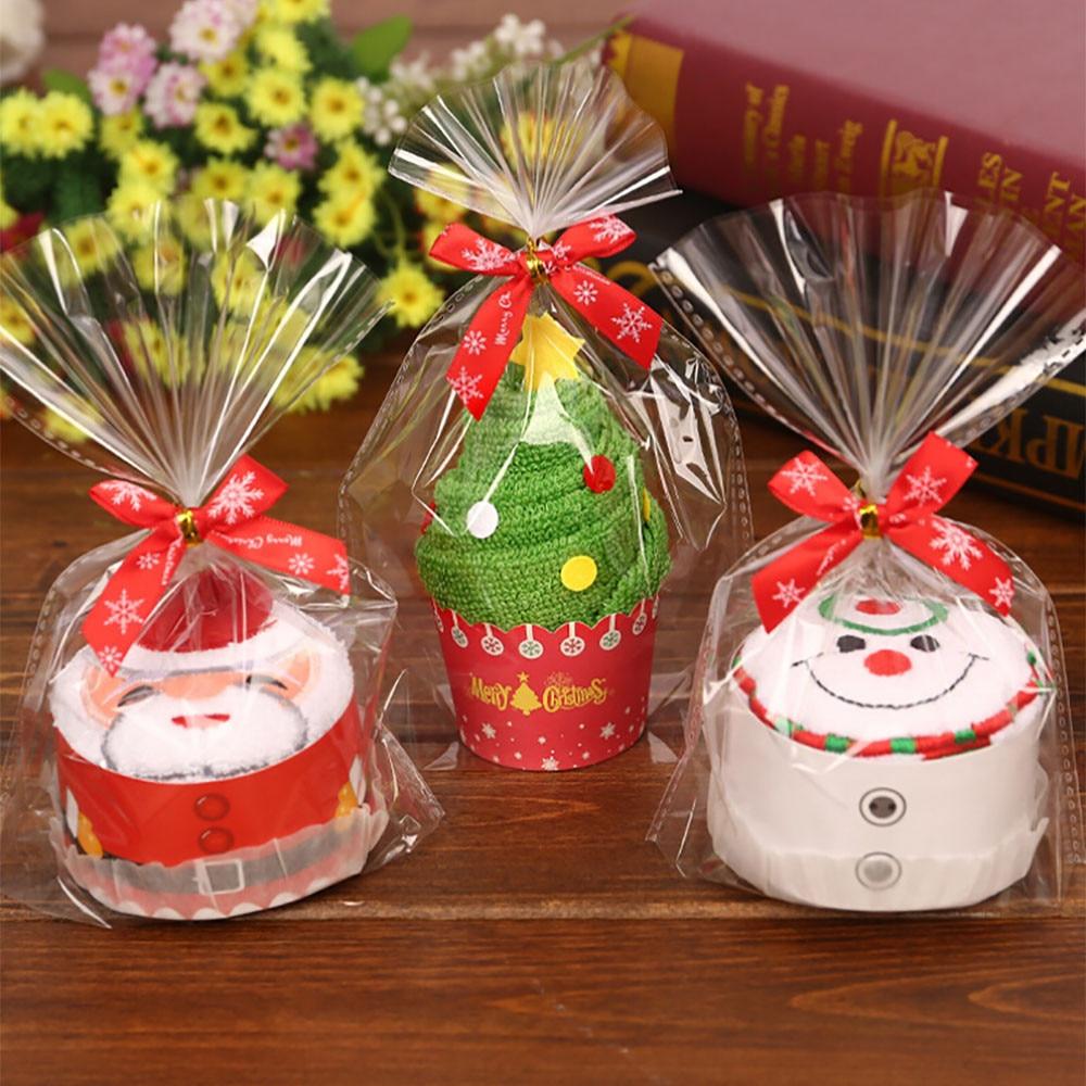 Cute santa claus towel christmas decor - Christmas Decorations For Home Santa Claus Snowman Christmas Tree Cute Cake Modelling Cotton Towel Creative Gifts