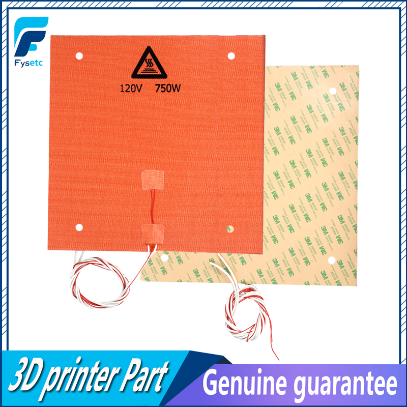 1PC Silicone Heater Pad 3D 310x310mm 120V 750W For Creality CR-10 3D Printer Bed With Screw Holes 3M Adhesive Backing & Sensor