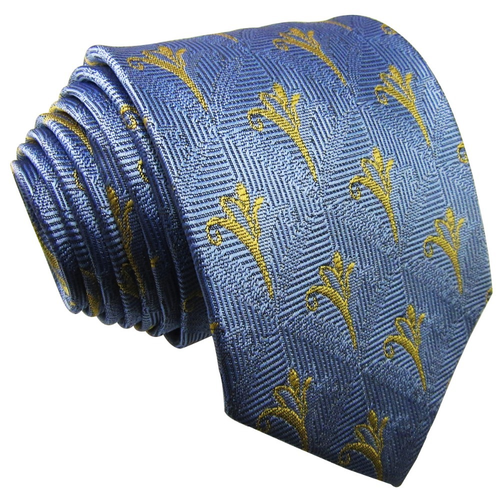 Q30 Extra long size Pattern Linght Blue Yellow Mens Necktie Ties 100% Silk for male Brand New Fashion hanky for male