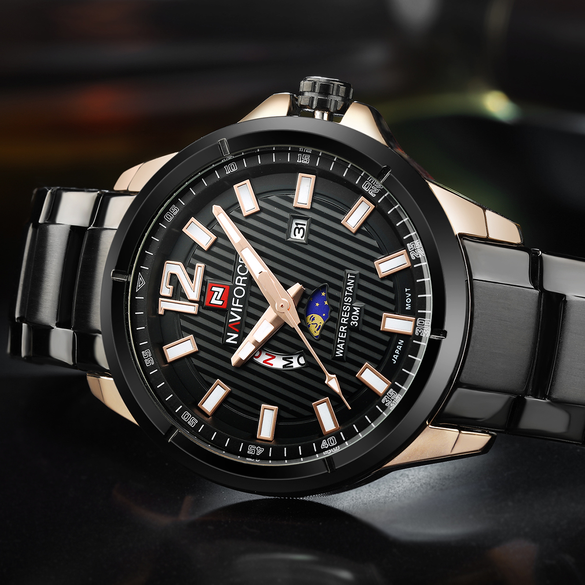 Watches Men NAVIFORCE 9084 Luxury Brand Full Steel Quartz Clock Dual calendar Watch Waterproof Wrist Watch Relogio Masculino masculino masculinos relogiosmasculino watch - AliExpress