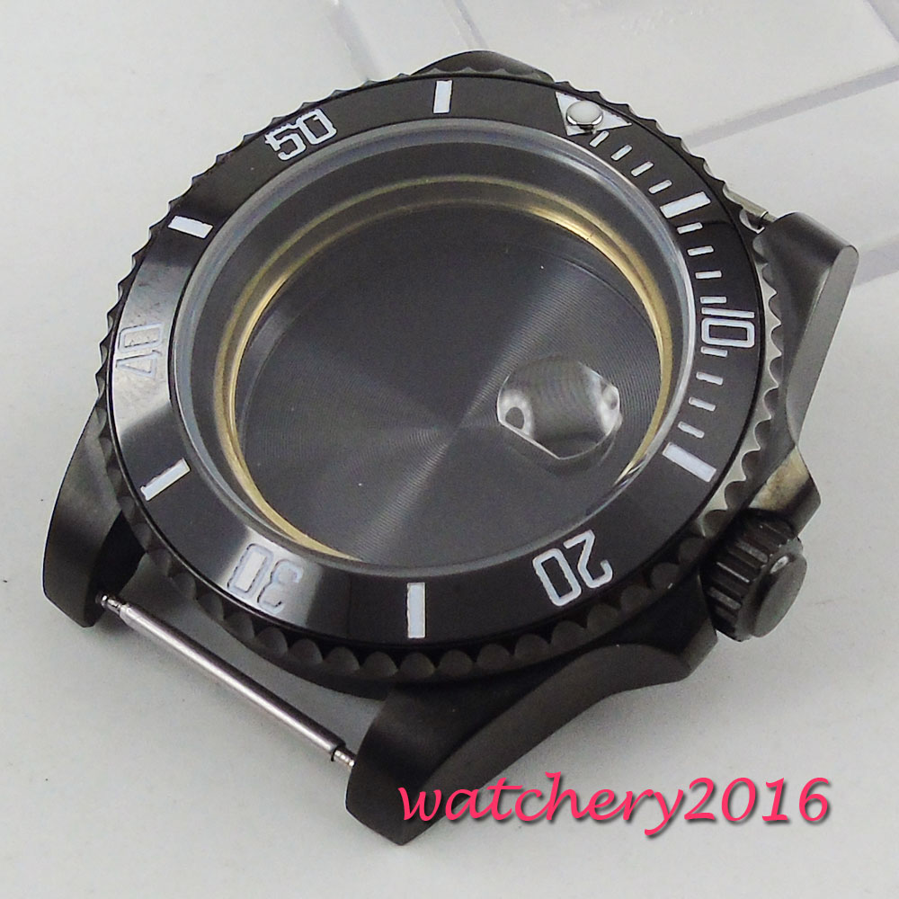 цена 40mm parnis Black Ceramic Bezel Sapphire Glass PVD Watch Case fit 2824 2836 Movement men's Watch онлайн в 2017 году