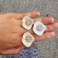 GODKI 31MM Monaco Designer Luxury Flower Lotus Leaf Cubic Zironia Engagement Dubai Naija Bridal Finger Rings