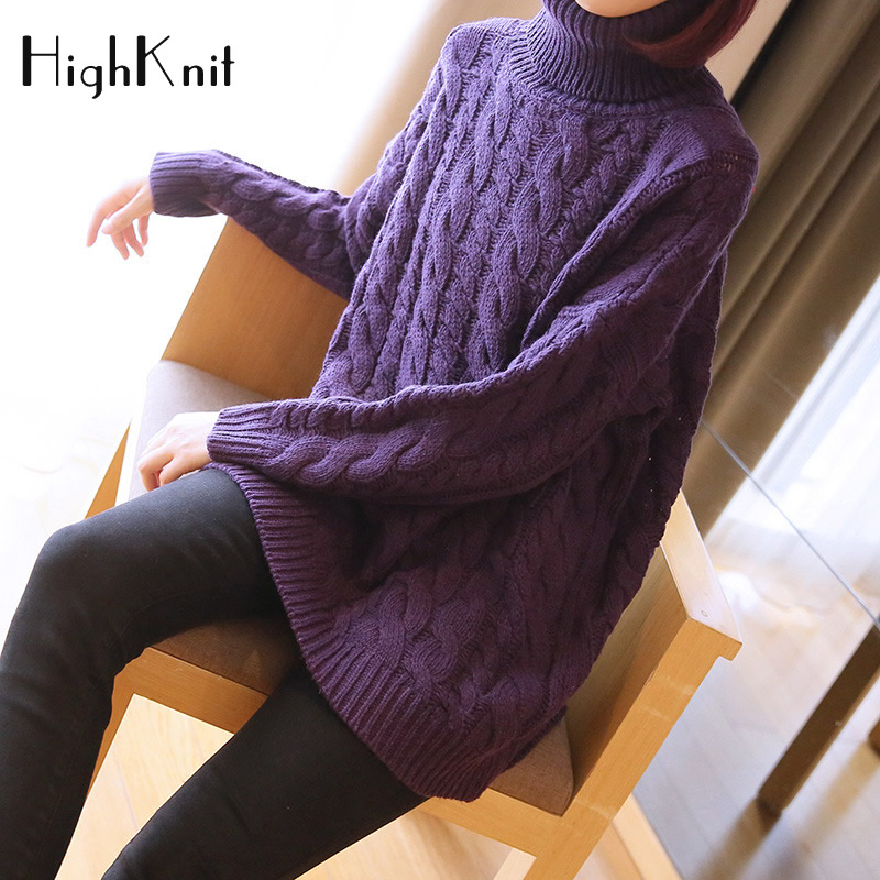 HighKnit Solid Purple Sweater Women Plus size Turtleneck Pullover Thick Warm Winter Sweater Pullover 2018 Korean Chic Pull Femme