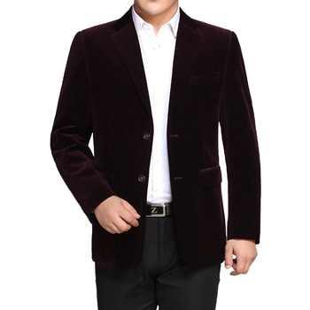 WAEOLSA Men Striped Velvet Blazers Elegant Plain Color Suit Coats Man Wool Blazer Hombre Corduroy Suit Men Jackets Red Navy Blue - DISCOUNT ITEM  25% OFF All Category