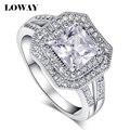 Loway anel quadrado de alta qualidade aaa + cubic zirconia platinadas mulheres jóias branco jz5821